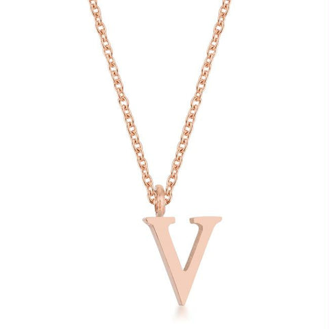Elaina Rose Gold Stainless Steel V Initial Necklace