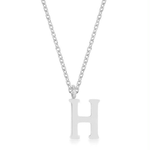 Elaina White Gold Rhodium Stainless Steel H Initial Necklace