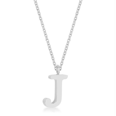 Elaina White Gold Rhodium Stainless Steel J Initial Necklace