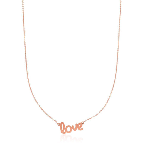 14K Rose Gold Script LOVE Necklace
