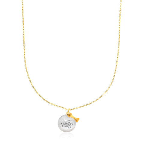 14K Two-Tone Gold Round Pendant with Paw Print and Bow