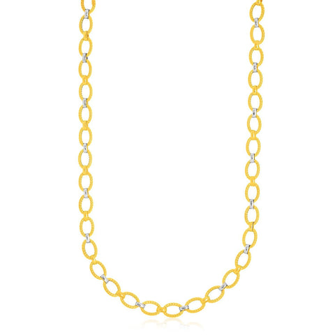 14K Two-Tone Gold Multi-Textured Oval Link Fancy Necklace