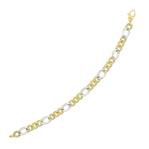 14K Two-Tone Gold Chain Bracelet with Rope Textured and Smooth Links