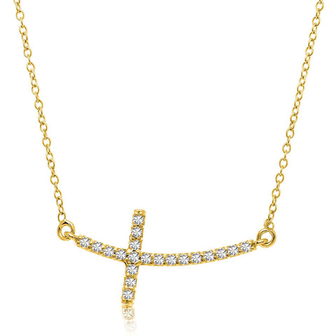 14K Yellow Gold Curved Crucifix Diamond Accented Necklace (.21ct tw)