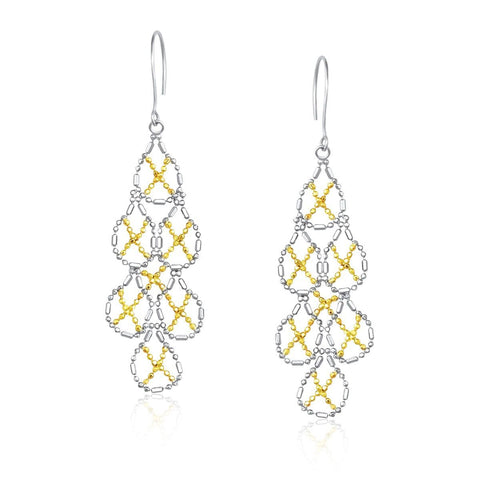 14K Yellow Gold & Sterling Silver Pear Shaped Beaded Earrings