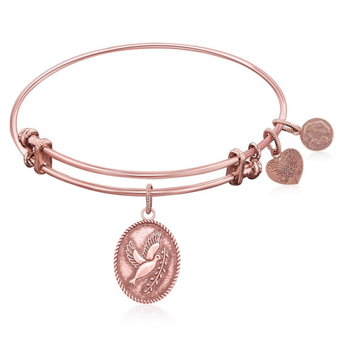 Expandable Bangle in Pink Tone Brass with Peace Symbol