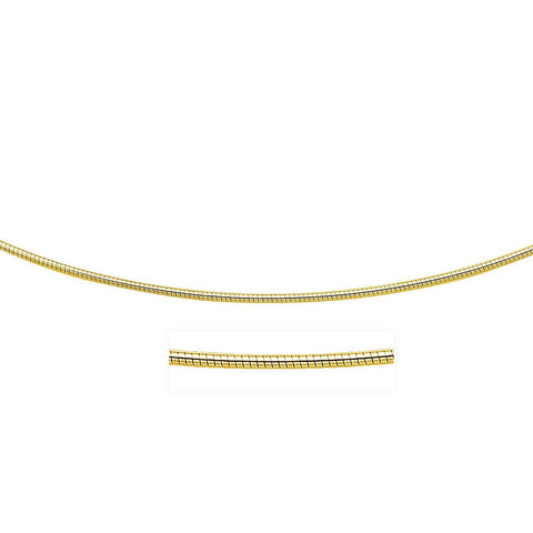 14K Yellow Gold Necklace in a Round Omega Chain Style