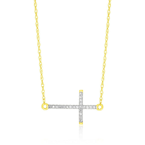 14K Yellow Gold Diamond Embellished Cross Chain Necklace