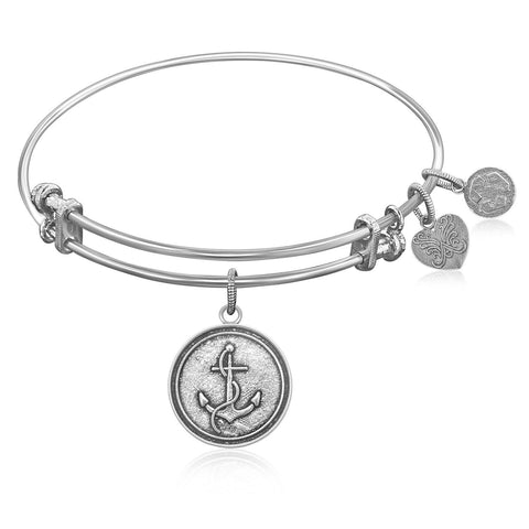 Expandable Bangle in White Tone Brass with Anchor Secure Future Symbol