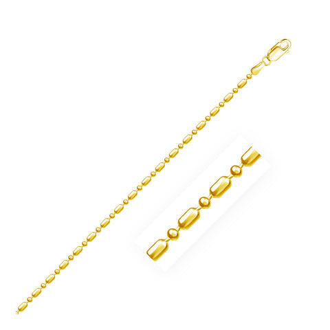 1.5mm 14K Yellow Gold Diamond-Cut Alternating Bead Chain