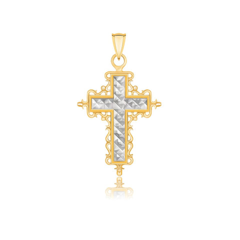 14K Two-Tone Gold Diamond Cut and Baroque Inspired Cross Pendant