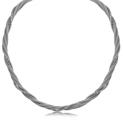 Sterling Silver Rhodium Plated Multi Strand Wheat and Bead Chain Necklace