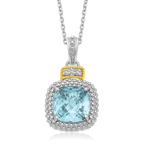 18K Yellow Gold & Sterling Silver Popcorn Sky Blue Topaz and Diamond Pendant