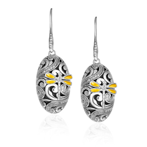 18K Yellow Gold & Sterling Silver Diamond and Dragonfly Oval Earrings