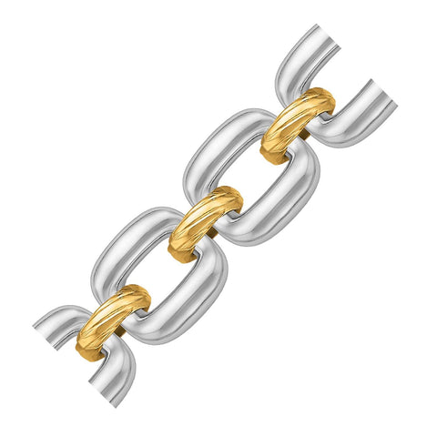 18K Yellow Gold and Sterling Silver Diamond Cut Rhodium Plated Chain Bracelet
