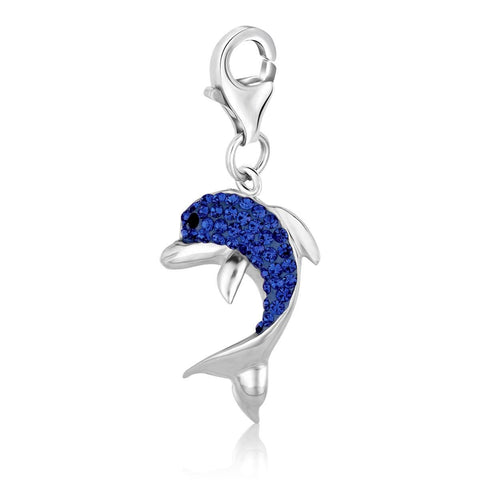 Sterling Silver Dolphin Charm with Blue Tone Crystal Accents
