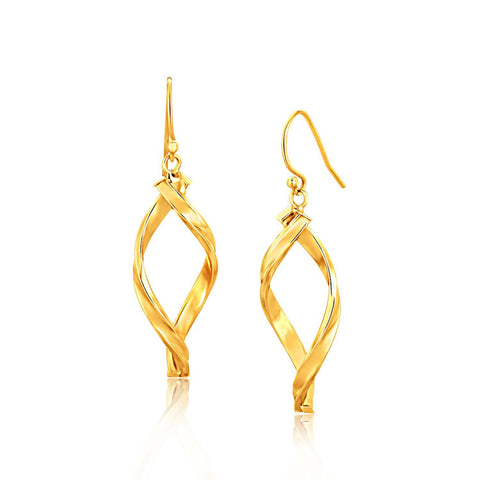 14K Yellow Gold Fancy Flat Twisted Oval Dangling Earrings