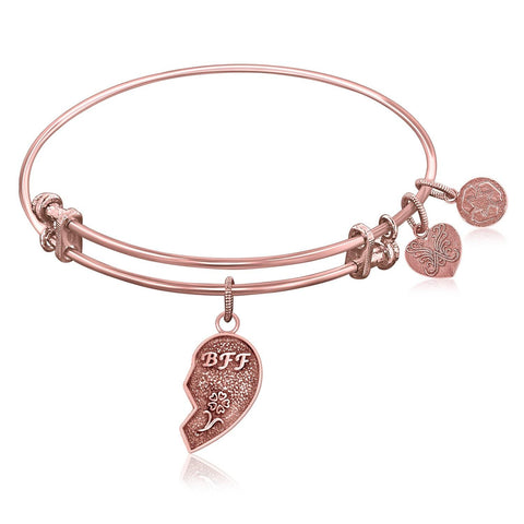 Expandable Bangle in Pink Tone Brass with Best Friends Symbol