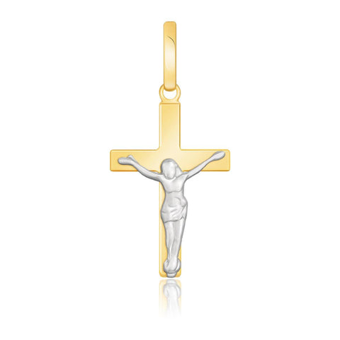 14K Two-Tone Gold Crucifix Motif Pendant