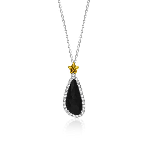 18K Yellow Gold & Sterling Silver White Sapphire and Black Onyx Pendant