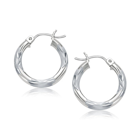 14K White Gold Hoop Earrings with Diamond Cuts (15mm)