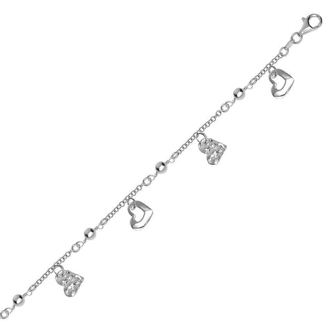 Sterling Silver Rhodium Plated Bracelet with Heart Charms and Bead Stations
