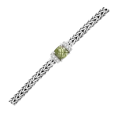 Sterling Silver Weave Bracelet with Green Amethyst and White Sapphires