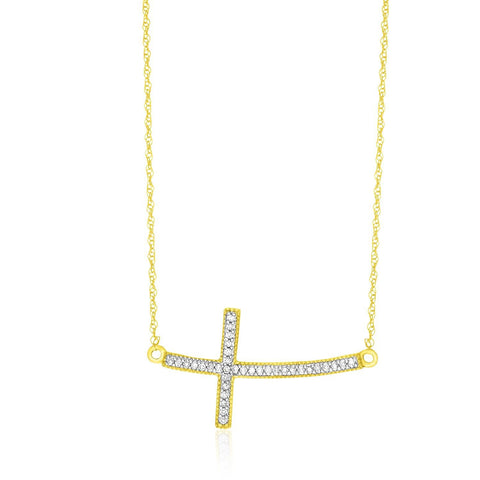 14K Yellow Gold Curved Cross Diamond Embellished Necklace