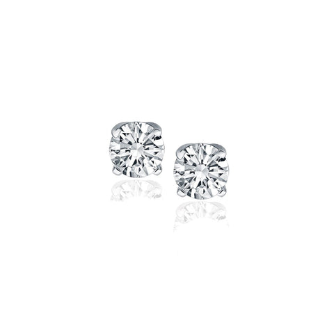 14K White Gold Diamond Four Prong Stud Earrings (1-2 c.t. tw.)