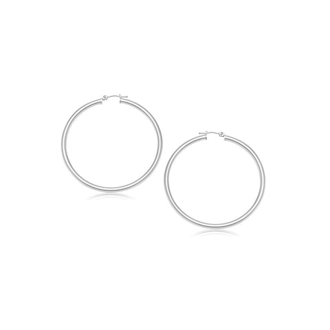 14K White Gold Polished Hoop Earrings (2- mm)