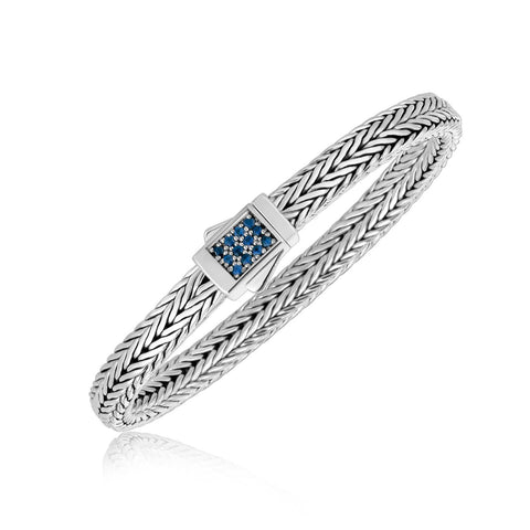 Sterling Silver Braided Blue Sapphire Accented Men's Bracelet
