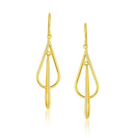14K Yellow Gold Teardrop Interlaced Dangling Earrings