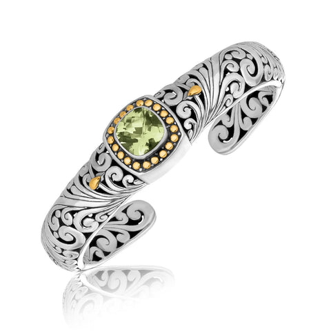 18K Yellow Gold and Sterling Silver Bangle with a Cushion Green Amethyst Accent