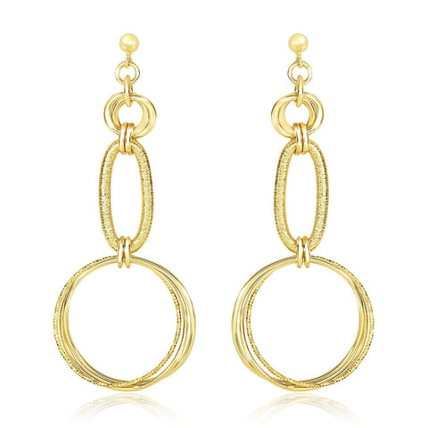 14K Yellow Gold Smooth and Textured Interlinked Oval & Circle Dangling Earrings