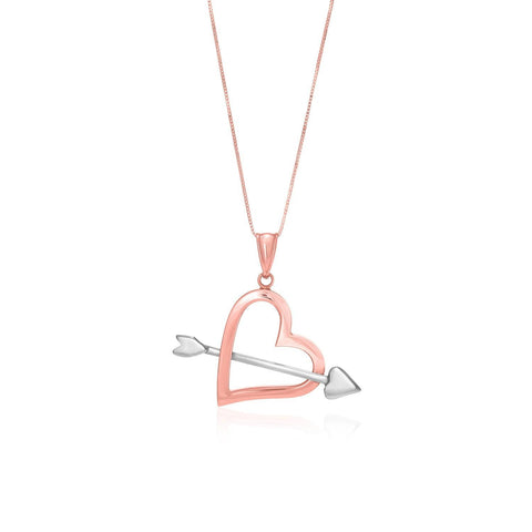 14K Rose & White Gold Arrow and Open Heart Pendant
