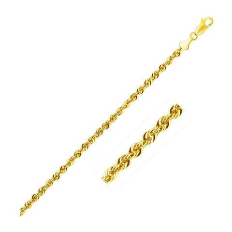 2.5mm 14K Yellow Gold Light Rope Chain