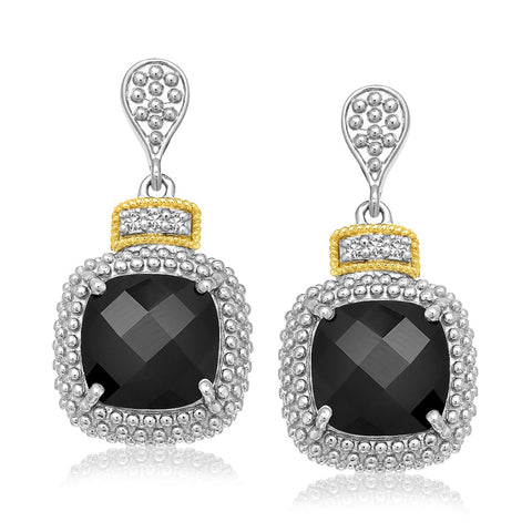 18K Yellow Gold & Sterling Silver Black Onyx & Diamond Earrings (.05ct tw)
