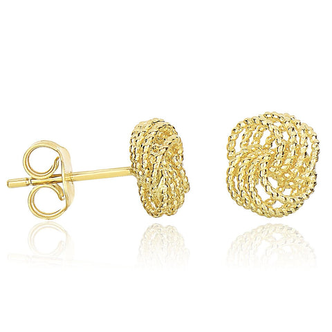 14K Yellow Gold Textured Finish Love Knot Style Earrings