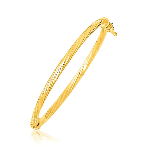 14K Yellow Gold Children's Bangle with Spiral Motif Style