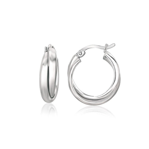 Sterling Silver Dual Round Entwined Hoop Earrings