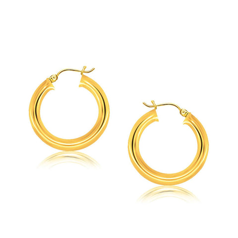 14K Yellow Gold Polished Hoop Earrings (30 mm)