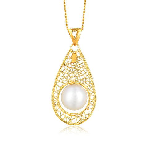 14K  Yellow Gold Mesh Teardrop Motif Pearl Accented Pendant
