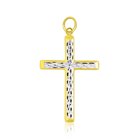 14K Two-Tone Gold Center Diamond Cut Cross Pendant