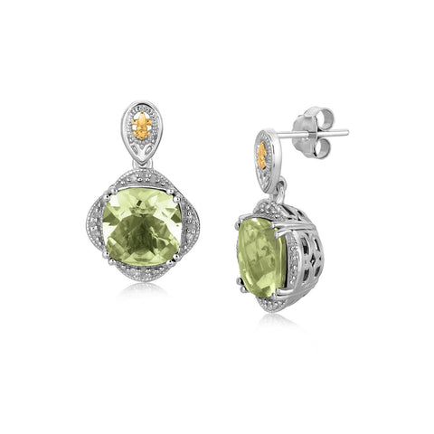 18K Yellow Gold and Sterling Silver Green Amethyst and Diamond Earrings