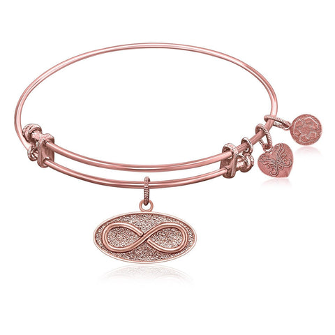 Expandable Bangle in Pink Tone Brass with Infinity Unlimited Symbol