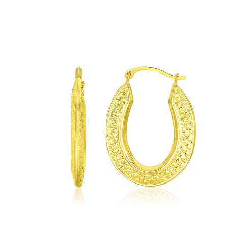 10K Yellow Gold Woven Texture Oval Shape Hoop Earrings