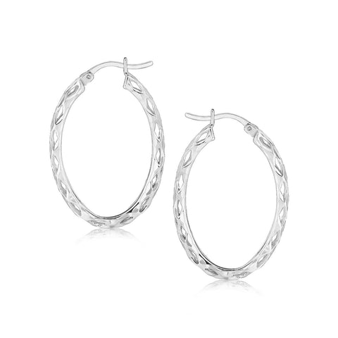 Sterling Silver Oval Woven Hoop Earrings with Rhodium Plating