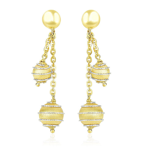 14K Two-Tone Gold Double Row Chain Earrings with Coil Embellished Balls