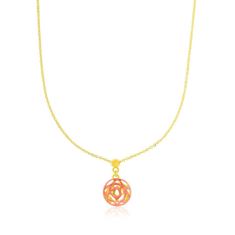 14K Rose & Yellow Gold Cutout Circle Pendant
