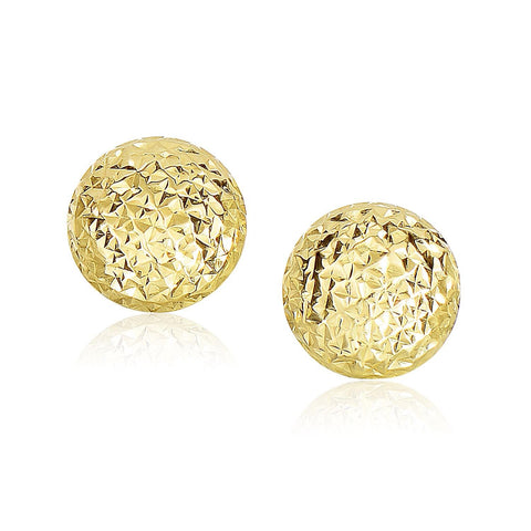 14K Yellow Gold Puff Round Earrings with Diamond Cuts